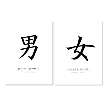 JAPAN MAN & KVINNA - parposters 2 st posters