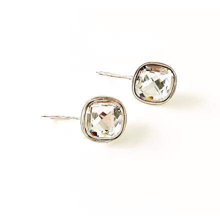 Örhängen fyrkantiga med Swarowski® kristaller Anna Chrystal Clear