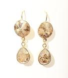 Örhängen med Swarowski® kristaller Double Crystal Nadja Golden Shadow