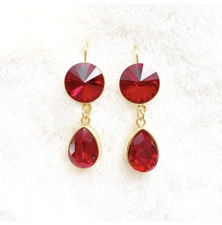Örhängen med Swarowski® kristaller Double Crystal Ruby Red
