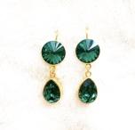 Örhängen med Swarowski® kristaller Double Crystal Emerald