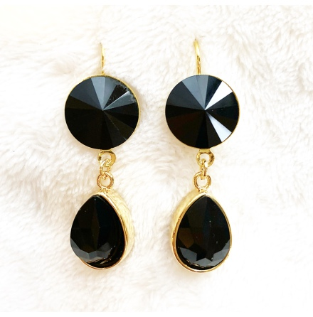 Örhängen med Swarowski® kristaller Double Crystal Black
