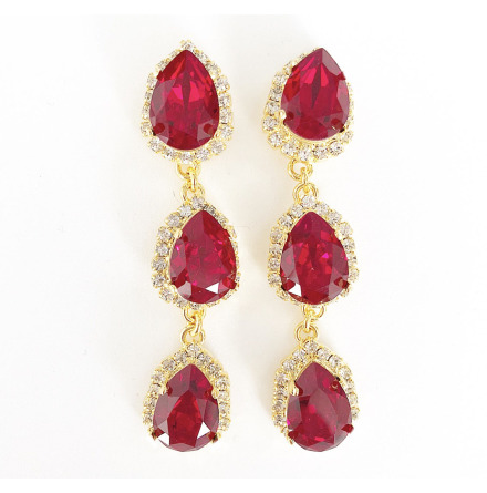 SWAROVSKI® ÖRHÄNGEN RHINESTONE THREE DROPS SIAM RED