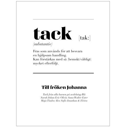 TACK - poster med fonetisk skrift