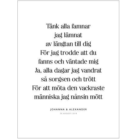 TÄNK ALLA FAMNAR BRÖLLOPSTAVLA