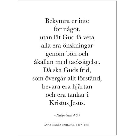 BIBELVERS - BEKYMRA ER INTE